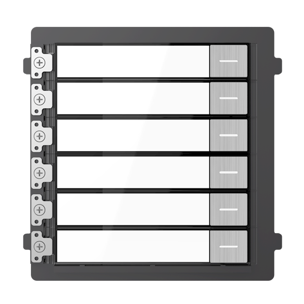 DS-KD-KK / S, intercomunicador modular, 6 botões de campainha em aço inoxidável, para combinar com um módulo de câmara em aço inoxidável e uma moldura que pode ser montada à superfície ou embutida.
