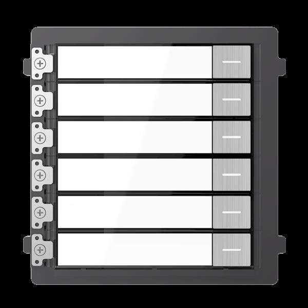 DS-KD-KK / S, modulare Gegensprechanlage, 6 Türklingeln aus Edelstahl, kombiniert mit einem Edelstahlkameramodul und einem Rahmen, der als Aufputz oder Einbau erhältlich ist.