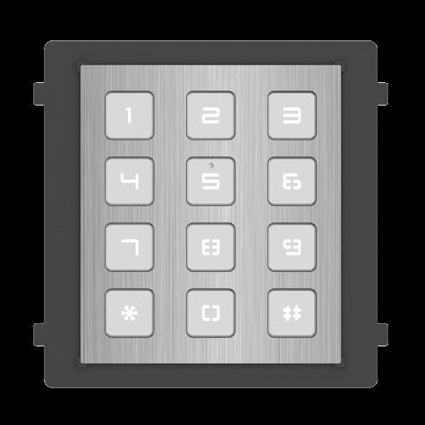 DS-KD-KP / S, modulare Gegensprechanlage, Tastatur aus Edelstahl, kombiniert mit dem Kameramodul aus Edelstahl und einem oberflächenmontierten oder eingebauten Edelstahlrahmen.