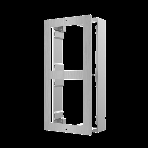 DS-KD-ACW2/S, modulaire intercom, opbouwframe 2 modules RVS te combineren met een Cameramodule en bijvoorbeeld een RVS keypad.