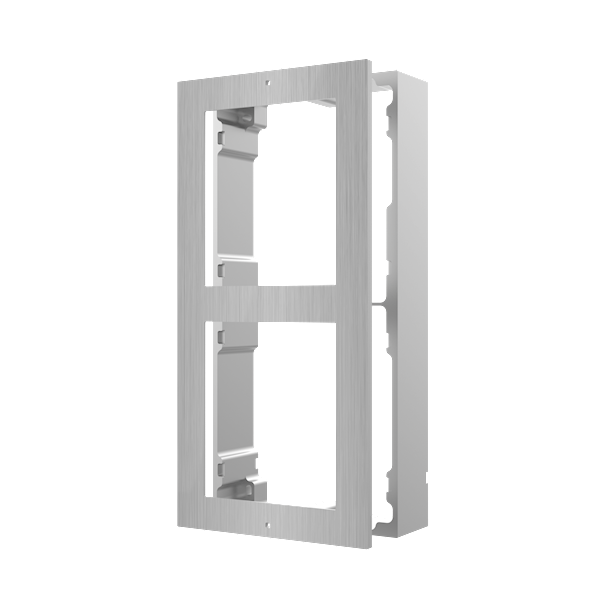 DS-KD-ACW2 / S, modulare Gegensprechanlage, oberflächenmontierter Rahmen 2 Module aus Edelstahl, kombiniert mit einem Kameramodul und beispielsweise einer Edelstahltastatur.