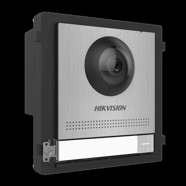 DS-KD8003-IME1 / S, interphone modulaire, module caméra design en acier inoxydable avec bouton de sonnerie, à combiner avec un cadre en acier inoxydable disponible en montage en saillie ou encastré. Également possible d'extension avec des boutons de cloch