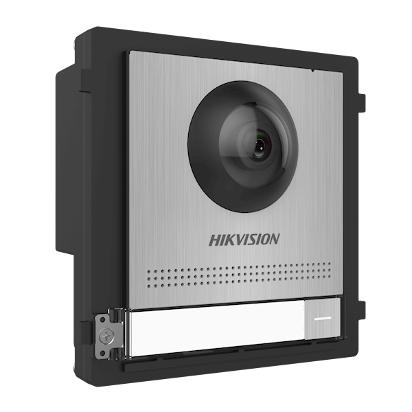 DS-KD8003-IME1 / S, modular intercom, camera module stainless steel design with bell push, can be combined with a stainless steel frame which is available as surface-mounted or built-in. Also possible to expand with stainless steel bell buttons or keypad.