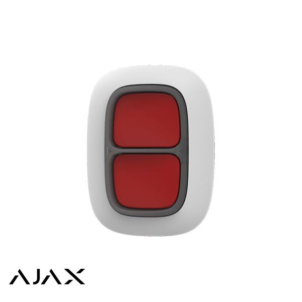 Ajax Double Panic Button White è un piccolo bottone che puoi appendere sotto il tavolo o sulla testiera del letto, appendere a un portachiavi o mettere in tasca. Portata del segnale fino a 1300 m