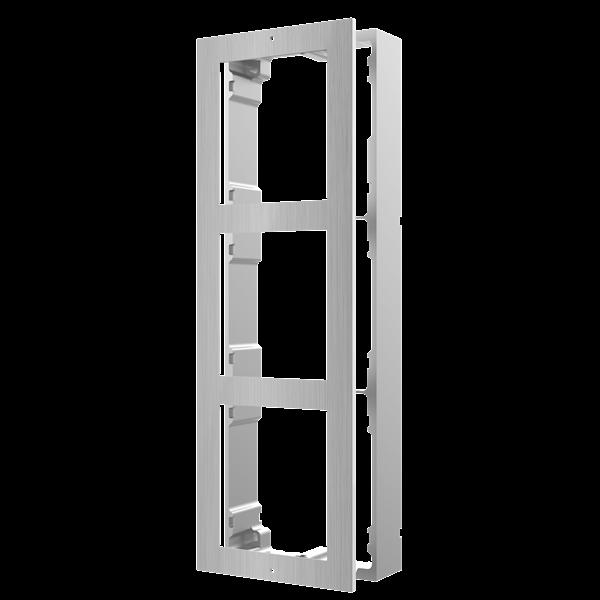 Cadre de montage en acier inoxydable pour interphone modulaire.