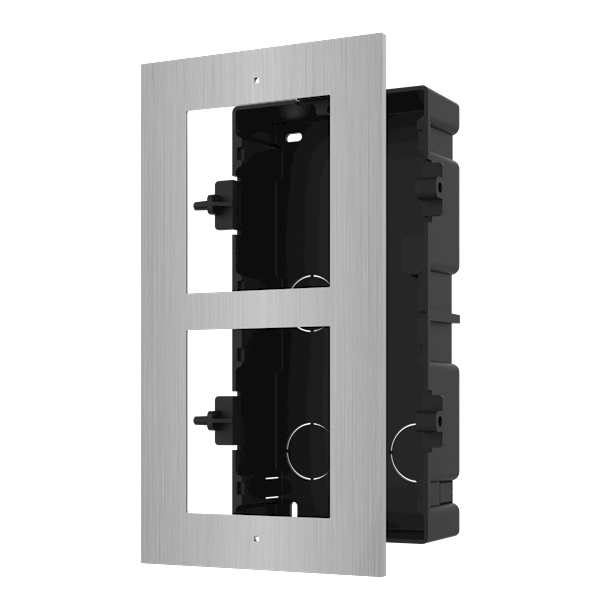 DS-KD-ACF2 / S, modular intercom, mounting frame 2 modules stainless steel to be combined with, for example, a stainless steel camera module and stainless steel keypad.