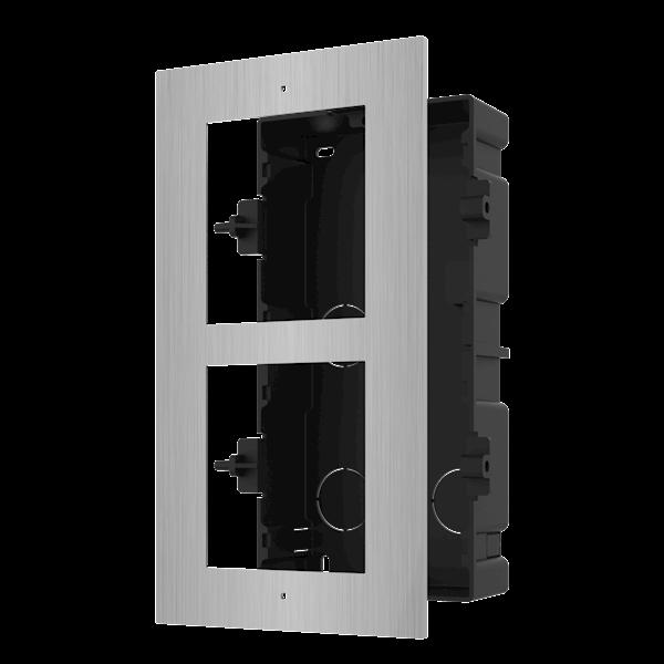 DS-KD-ACF2 / S, modulare Gegensprechanlage, Montagerahmen 2 Module aus Edelstahl, kombiniert mit beispielsweise einem Edelstahlkameramodul und einer Edelstahltastatur.