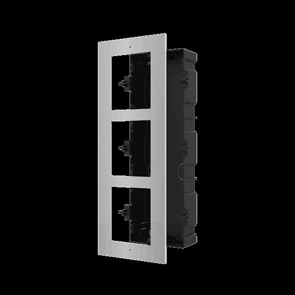 DS-KD-ACF3/S, modulaire intercom, inbouwframe 3 modules RVS
