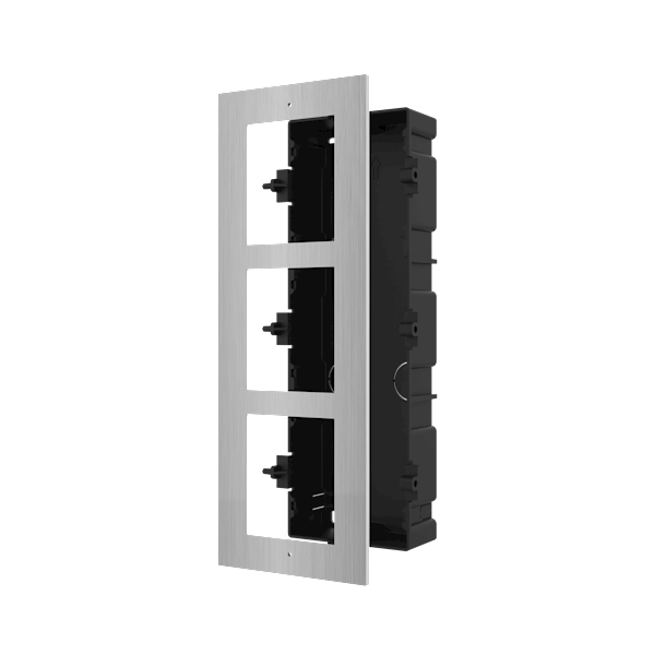 DS-KD-ACF3/S, modulaire intercom, inbouwframe 3 modules RVS