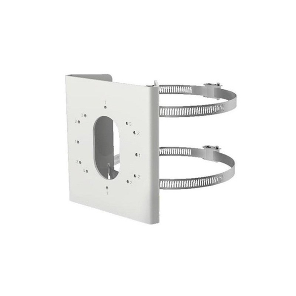 DS-1275ZJ-S-SUS, pole mounting bracket with clamps, small model stainless steel, for various wall brackets and Bullet cameras.
