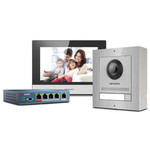 Complete stainless steel intercom kit with PoE switch