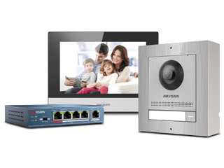 """Complete stainless steel intercom kit with PoE switch, in this complete intercom kit from Hikvision you will find a vandal-resistant stainless steel outpost, luxury indoor station with HD 7 """"screen and the ASE0105 poe switch."""