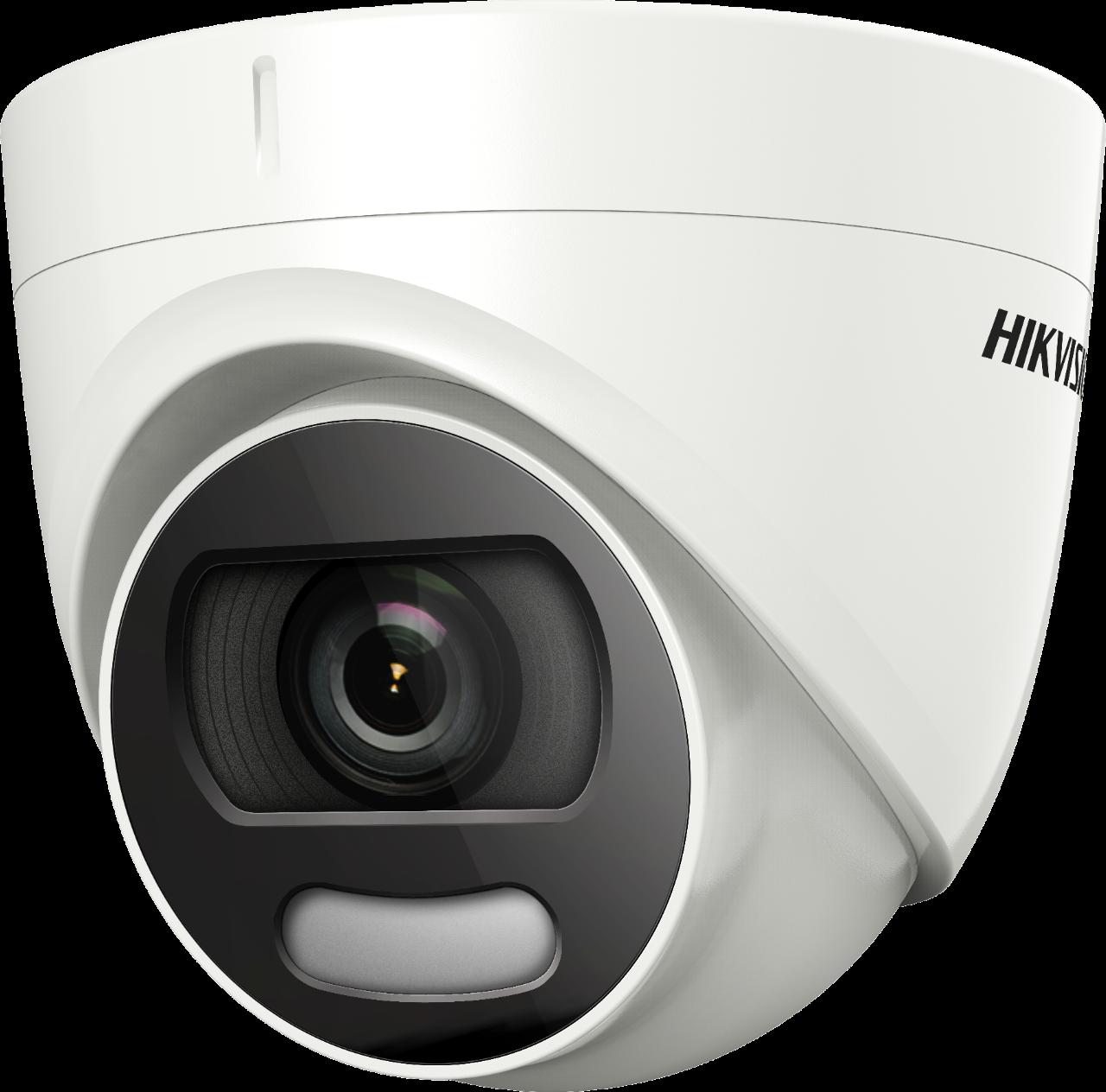 Cámara Turbo HD HDoC con globo ocular / torreta Para uso en exteriores Resolución: 5MP Lente: 2.8 mm Luz blanca 20m IP67 Fuente de alimentación: 12VDC ColorVu - 24/7 color, 4in1, Up the Coax (HIkVision-C) 130dB True WDR