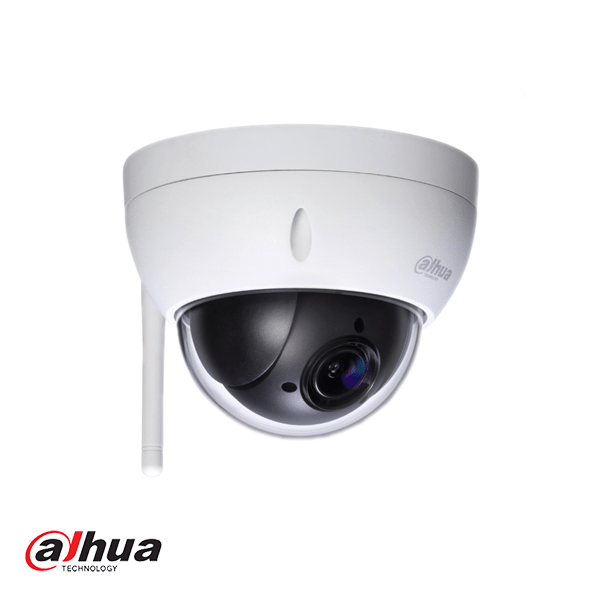 Telecamera PTZ WiFi mini dome mobile resistente agli atti vandalici Full HD con obiettivo 2.8-11mm, codifica IP66 e IK10, quindi adatta per uso esterno. Alimentazione tramite adattatore 12 volt opzionale. Memoria a bordo possibile con una scheda micro SD