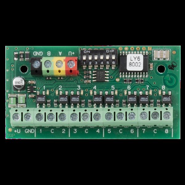 Das Produkt ist ein Systemgerät für Jablotron Midway (Pro) und Essex (Pro). Die Ausgänge sind vom Bus isoliert. Es wird über den DIP-Schalter eingestellt. Das Gerät ist nicht adressierbar (es nimmt keine Position im Sicherheitssystem ein.)