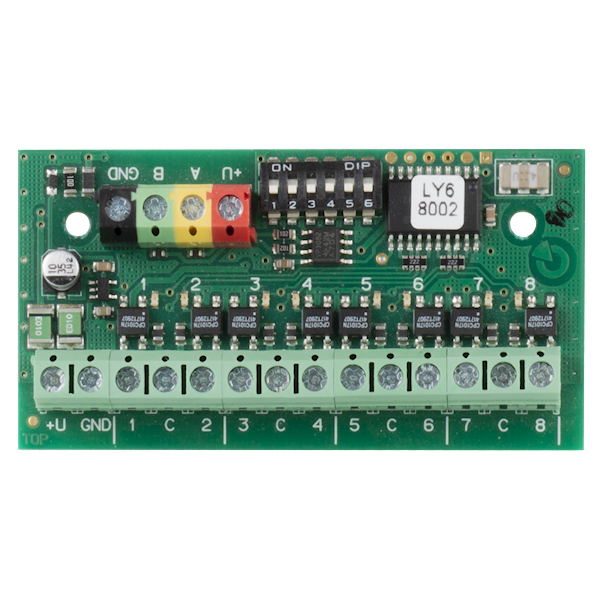 The product is a system device for the Jablotron Midway (Pro) and Essex (Pro) The outputs are isolated from the bus It is set using the DIP switch The device is not addressable (it does not occupy a position in the safety system)