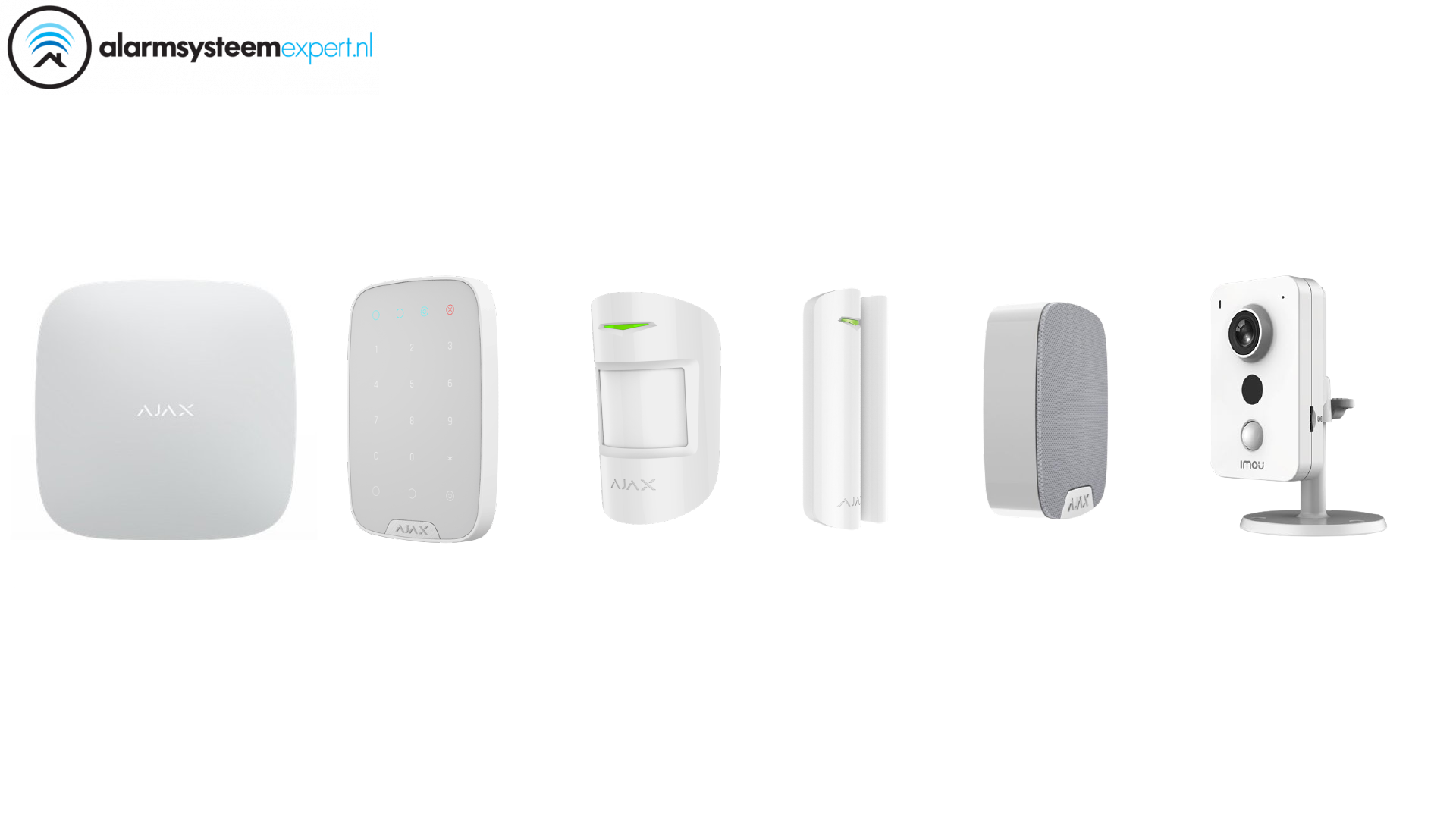 Alarm System Kit 1C Wireless with Wifi Cube Camera for indoor use (White)