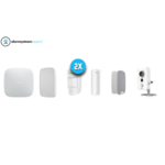 Ajax Systems Alarm system Kit 2C Wireless with Wifi Cube Camera for indoors (White)