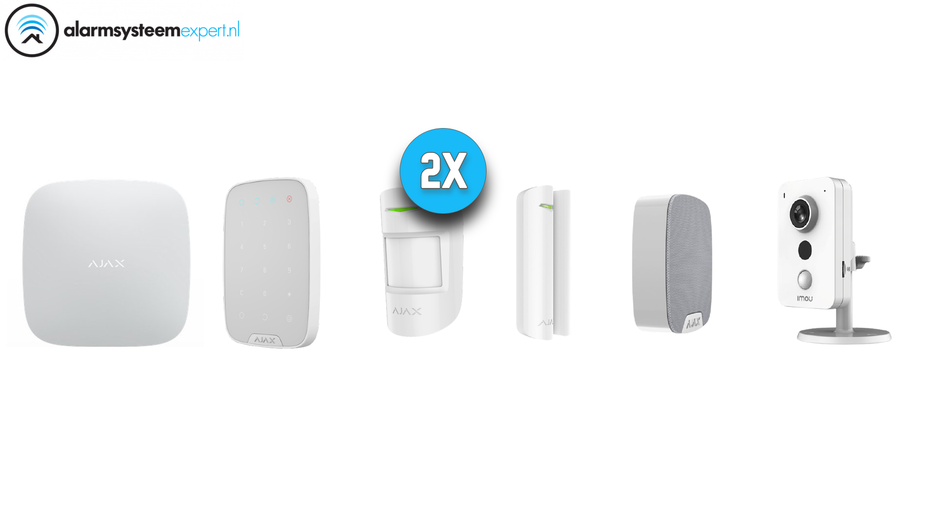 Kit de sistema de alarma 2C Wireless con Wifi Cube Camera para interior (Blanco)