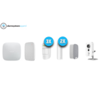 Ajax Systems Alarm System Kit 4C Wireless with Wifi Cube Camera for inside (White)