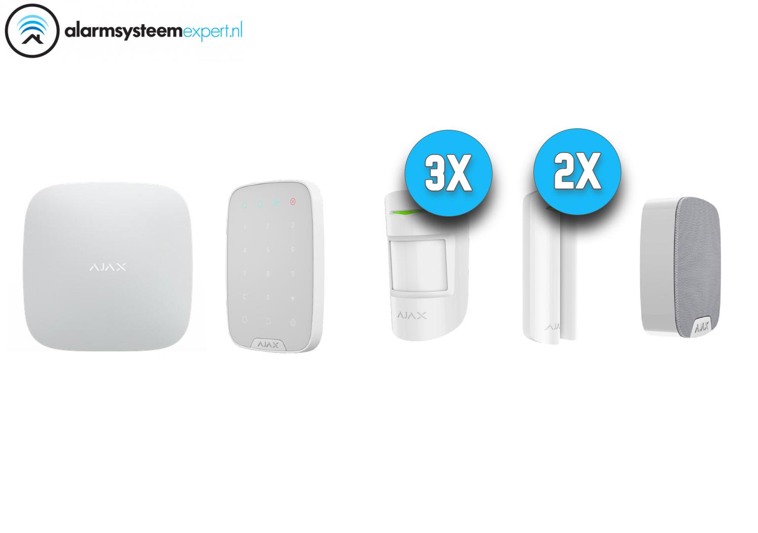 O kit do sistema de alarme Ajax pode ser usado como base para o sistema de segurança sem fio Ajax.