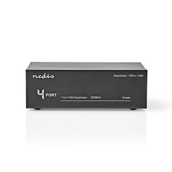 With the König 4 Ports VGA splitter you can display images from 1 VGA source, such as a laptop or desktop computer on 4 different screens. This is useful during presentations, so that everyone in the room looks at the same images. The signal remains the s