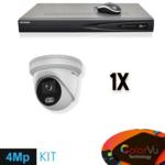 Hikvision Conjunto de vigilância de câmera Full HD 4 megapixels IP Colorvu 1x Dome White