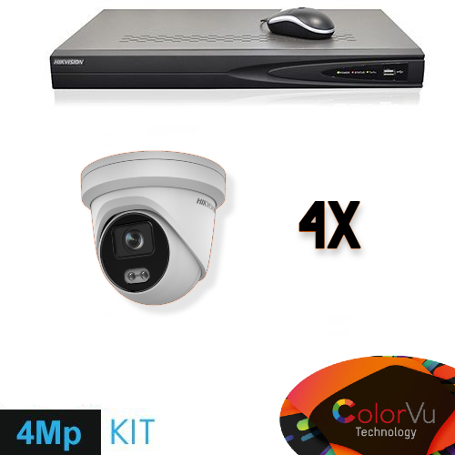 Full HD 4 Megapixel IP Colorvu Kameraüberwachungsset 4x Dome White