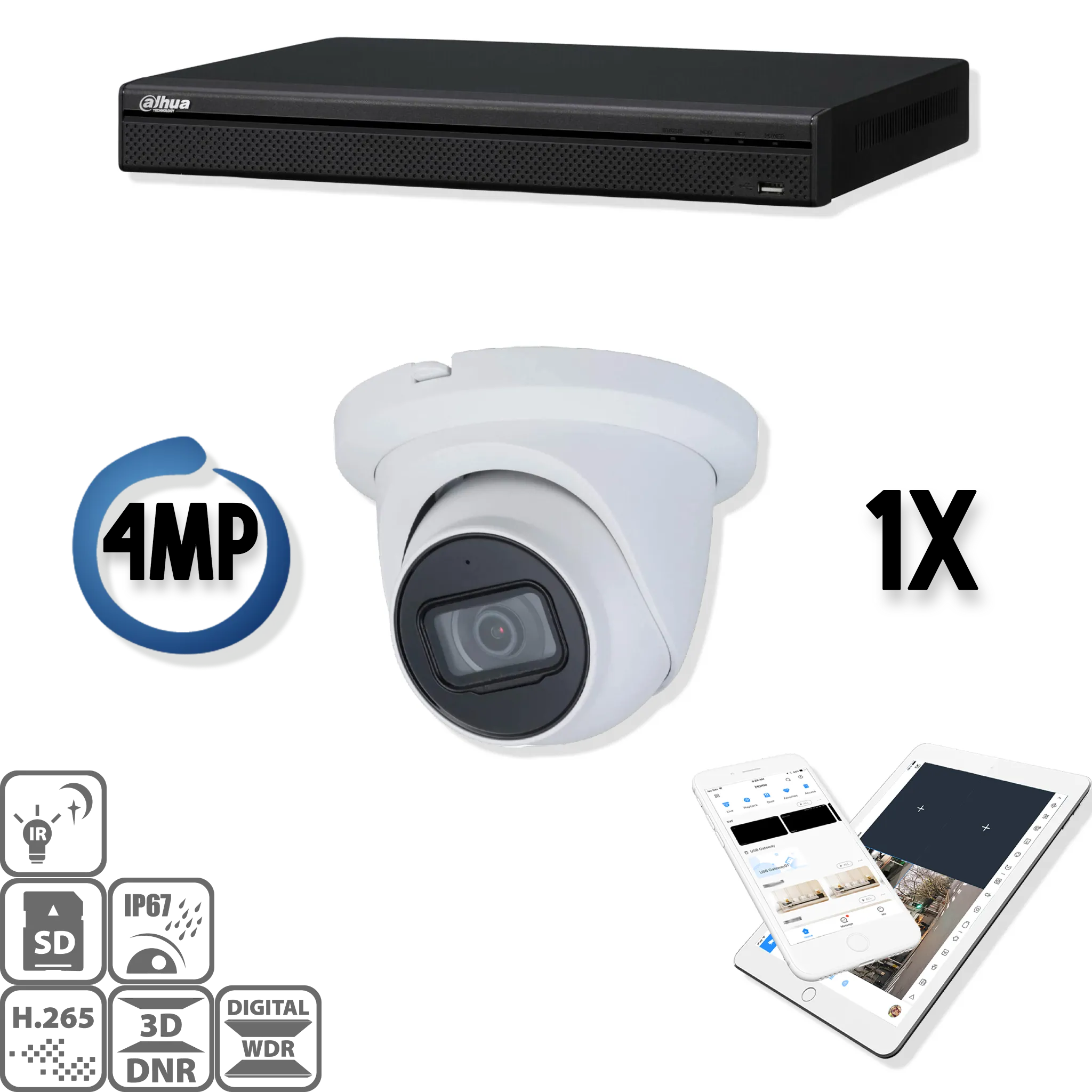 Deze kit bestaat uit:<br /> 1 x 4 Kanaals 4K recorder<br /> 1 x 4 Megapixel Starlight Dahua camera<br /> 1 x DMSS Lite App<br /> 1 x Gratis PC / MAC software<br /> 1 x 20 meter CAT5 kabel<br /> 1 x USB muis<br /> 1x 1 meter HDMI kabel