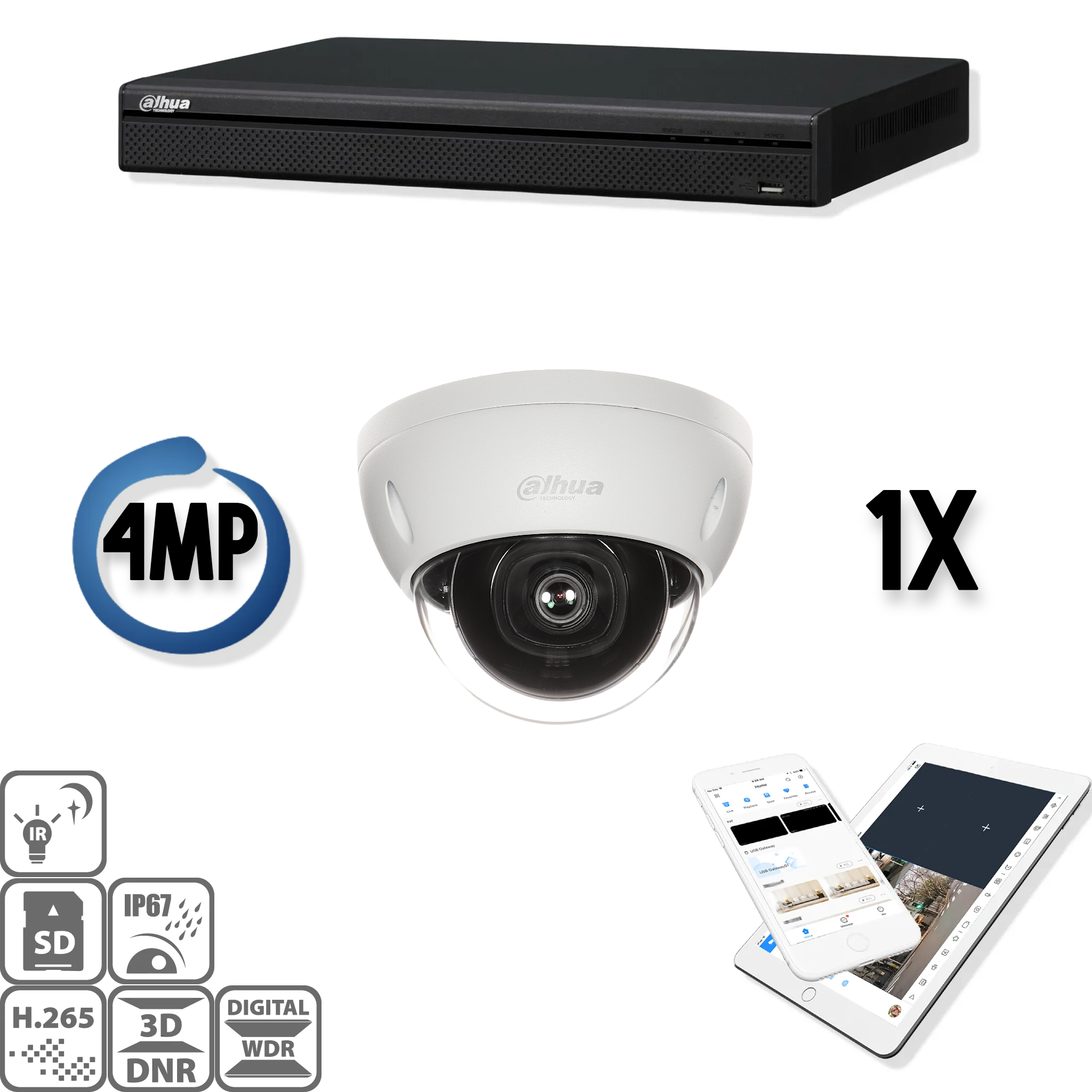 The Dahua IP kit 1x dome 4mp Full HD camera security set contains 1 IP dome camera, which are suitable for indoor or outdoor use. The camera has a Full HD image quality with IR LEDs for a perfect view in darkness. This HD IP camera set delivers razor-shar