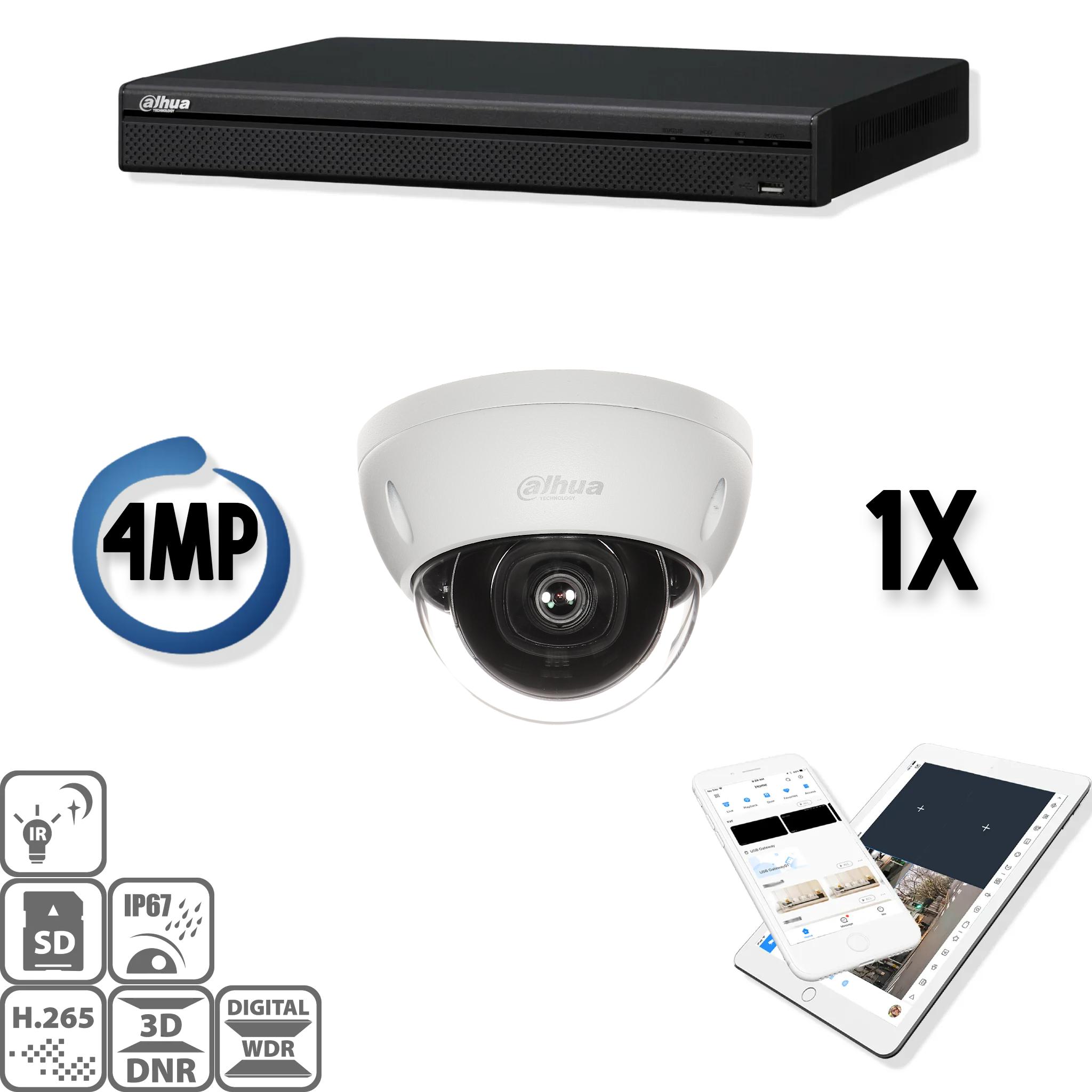 De Dahua IP kit 1x dome 4mp Full HD camerabeveiliging set bevat 1 IP dome camera, welke geschikt zijn voor binnen of buiten. De camera heeft een Full HD beeldkwaliteit met IR leds voor een perfect zicht bij duisternis. Deze HD IP cameraset levert haarsche