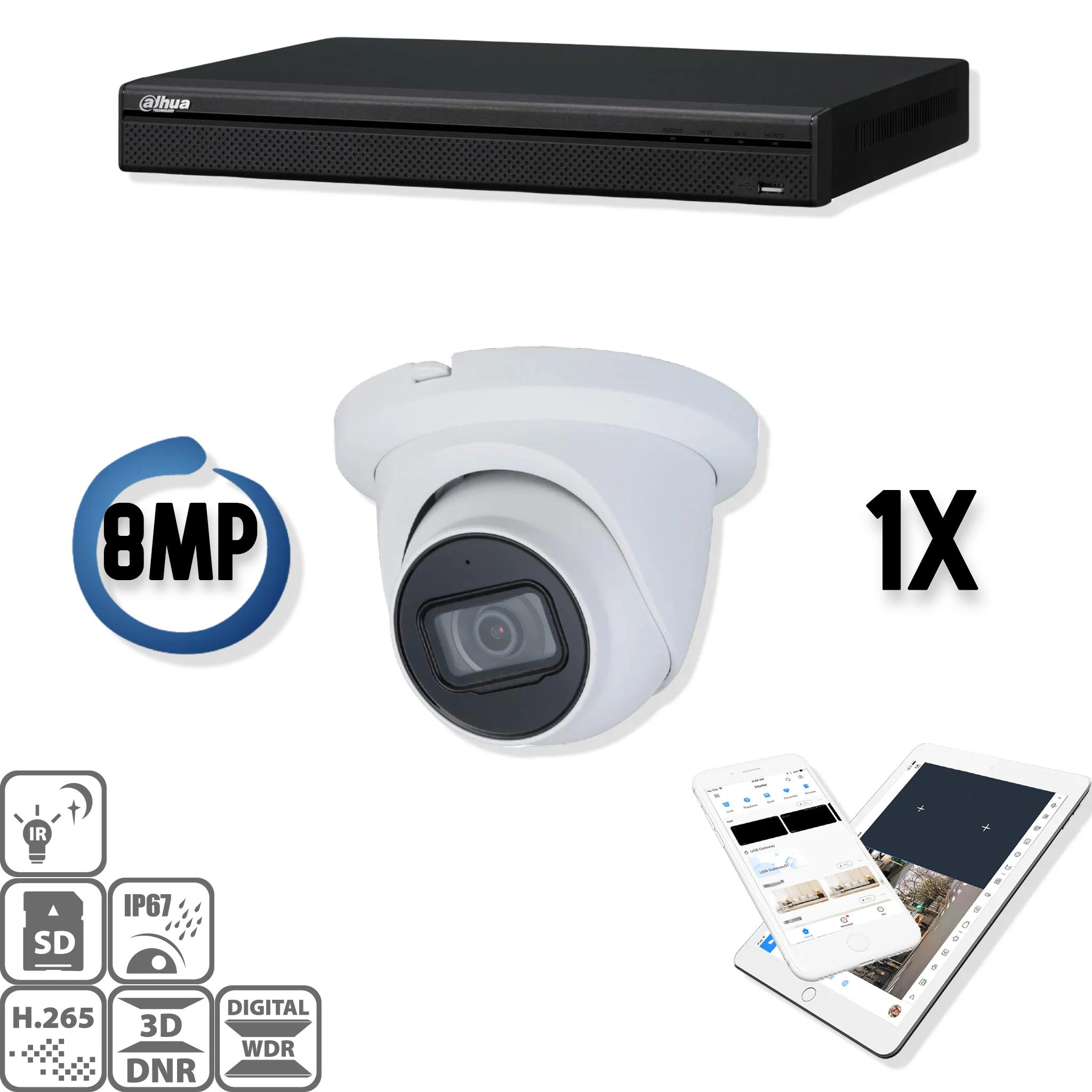 Un set con una fotocamera speciale con un'ottima visione notturna! Infrarosso separato, quindi non più problemi di riflessione all'infrarosso a causa del vetro contaminato! Il kit di sicurezza Dahua IP 1x Eyball 8MP Full HD contiene 1 telecamera IP Eyebal