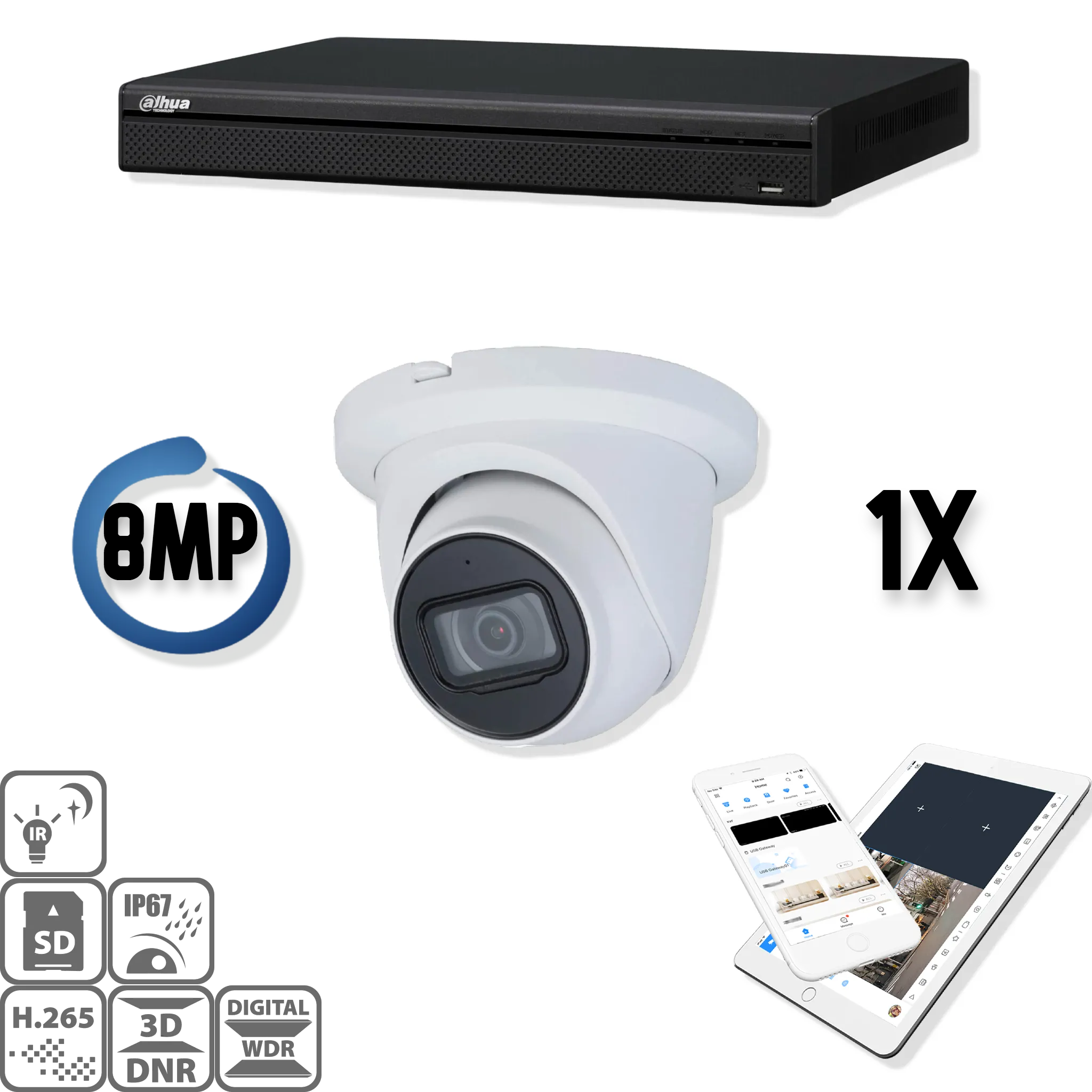 A set with a special camera with extra good night vision! Separated infrared, so no more problems with infrared reflection due to contaminated glass! The Dahua IP kit 1x Eyball 8MP Full HD camera security set contains 1 IP Eyeball camera, which is suitabl
