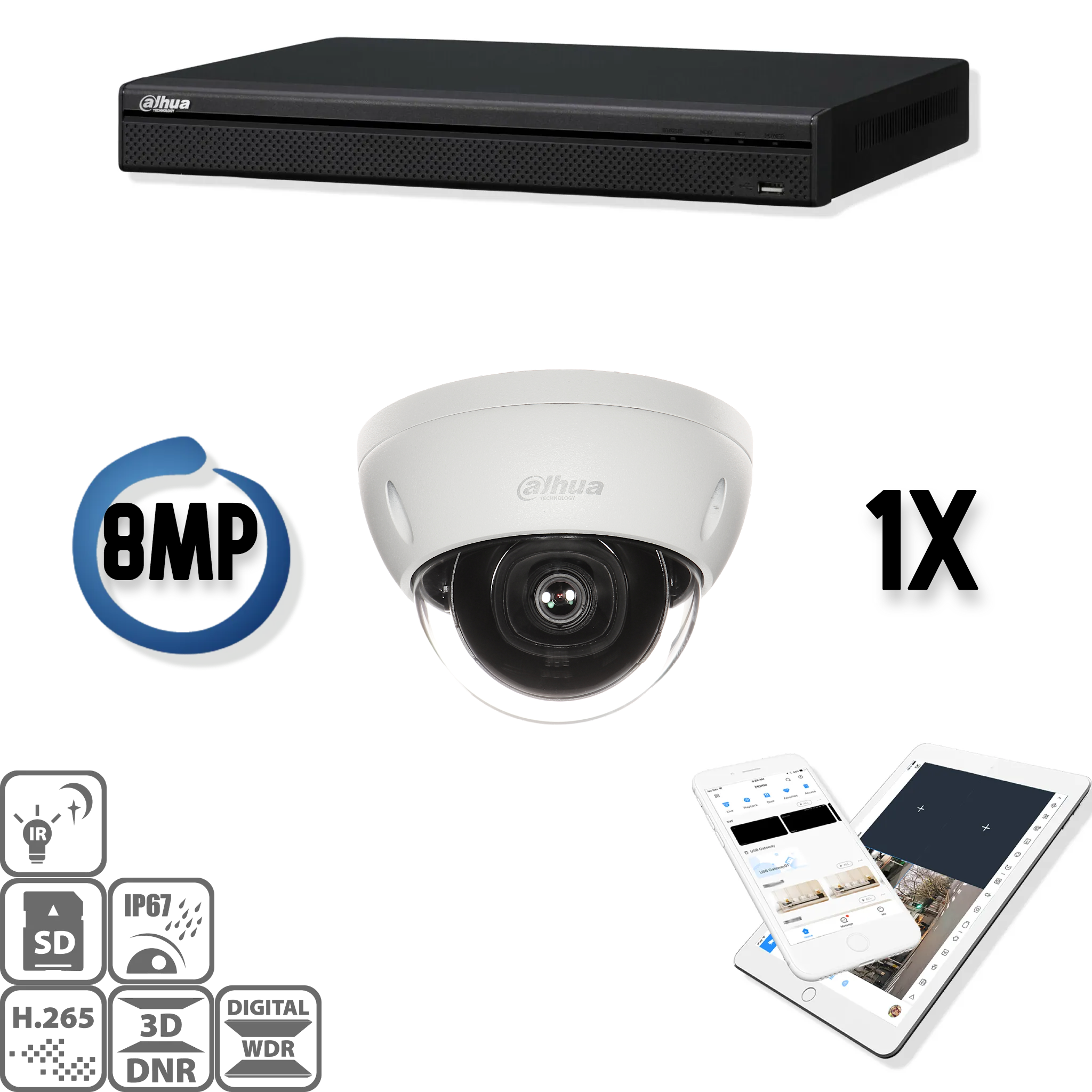 The Dahua IP kit 1x dome 8mp Ultra HD camera security set contains 1 IP dome camera, which are suitable for indoor or outdoor use. The camera has an Ultra HD image quality with IR LEDs for a perfect view in darkness. This HD IP camera set delivers razor-s