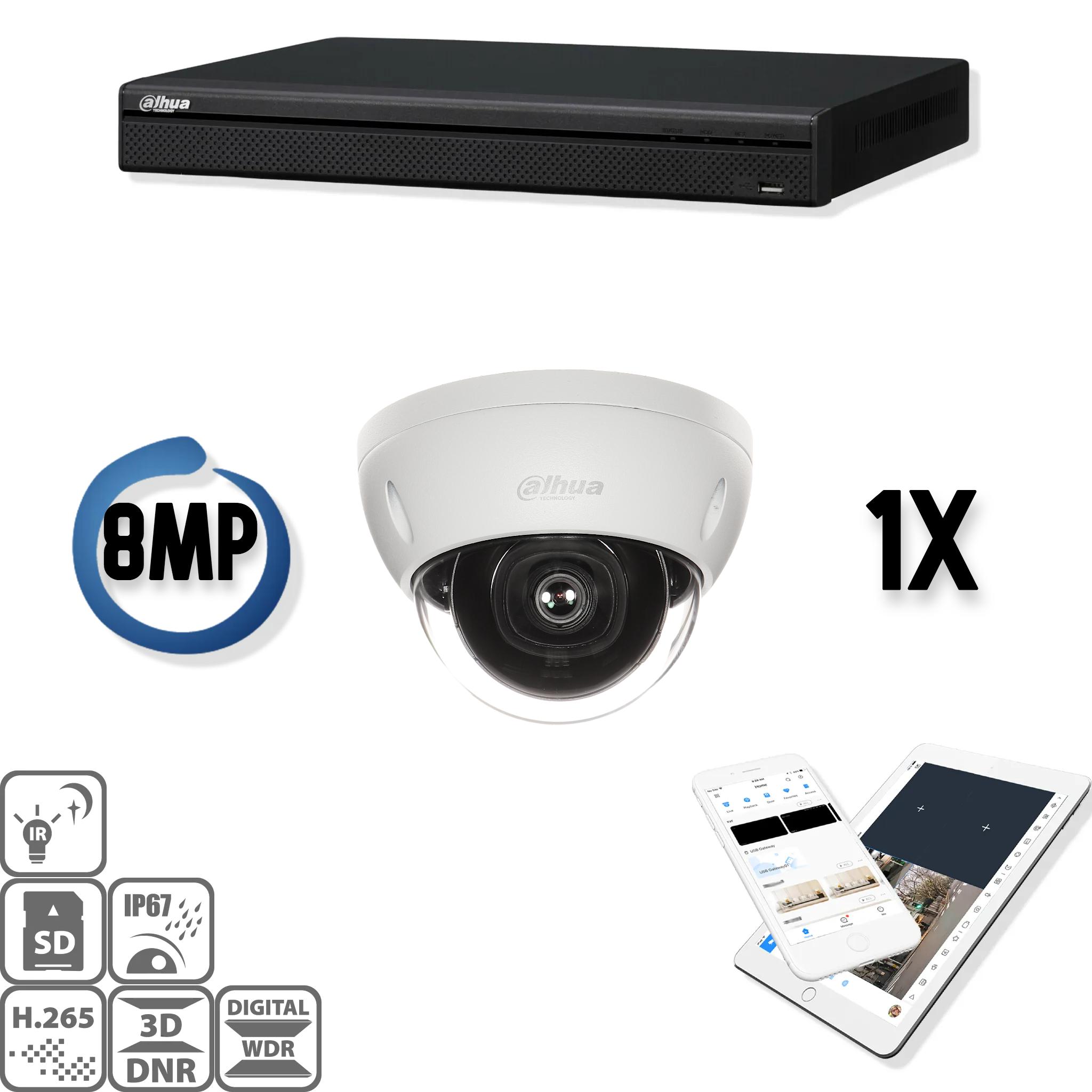 De Dahua IP kit 1x dome 8mp Ultra HD camerabeveiliging set bevat 1 IP dome camera, welke geschikt zijn voor binnen of buiten. De camera heeft een Ultra HD beeldkwaliteit met IR leds voor een perfect zicht bij duisternis. Deze HD IP cameraset levert haarsc