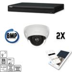 Dahua Ultra HD IP Kit 2x Kuppel 8 Megapixel Kamera Sicherheitsset