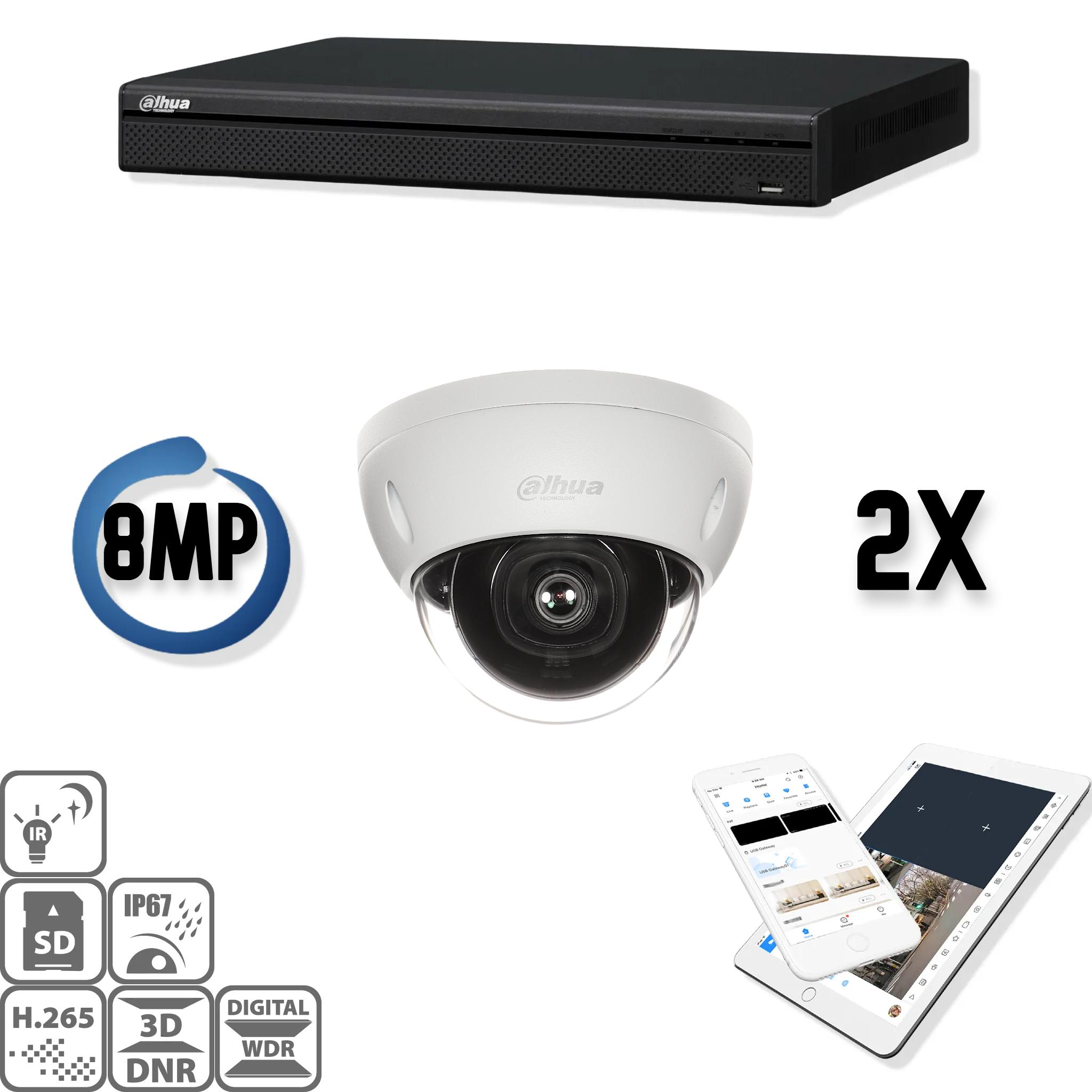 Deze kit bestaat uit:<br /> 1 x 4 Kanaals 4K recorder<br /> 2 x 8 Megapixel Starlight Dahua camera<br /> 1 x DMSS Lite App<br /> 1 x Gratis PC / MAC software<br /> 2 x 20 meter CAT5 kabel<br /> 1 x USB muis<br /> 1x 1 meter HDMI kabel