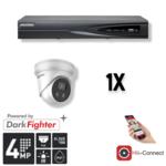 Hikvision Cameraset | 1x Eyeball  | 4MP | Acusense | NVR | Incl. Bekabeling | POE | APP  |