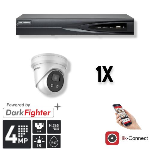 Deze kit bestaat uit:<br /> 1 x 4 Kanaals 4K recorder <br /> 1 x 4 Megapixel slimme Hikvision camera<br /> 1 x Hik-Connect app<br /> 1 x Gratis PC / MAC software<br /> 1 x 20 meter CAT5 kabel<br /> 1 x USB muis <br /> 1x 1 meter HDMI kabel