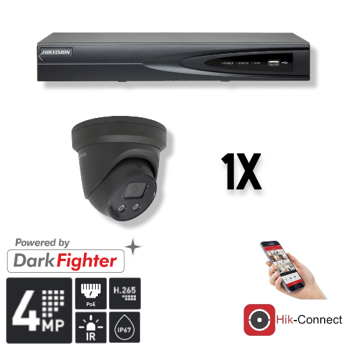 Kameraset | 1x Augapfel | 4MP | Acusense | NVR | inkl. Verkabelung | POE | APP |