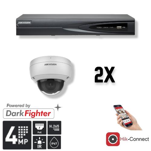 Cameraset | 2x Dome | 4MP | Acusense | NVR | Incl. Bekabeling | POE | APP |