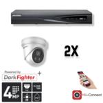 Hikvision Cameraset   2x Eyeball   4MP   Acusense   NVR   Incl. Bekabeling   POE   APP  