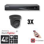 Hikvision Cameraset   3x Eyeball   4MP   Acusense   NVR   Incl. Bekabeling   POE   APP  