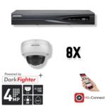 Hikvision Cameraset | 8x Dome  | 4 Megapixel | Acusense | NVR | Bekabeling | APP | Wit |
