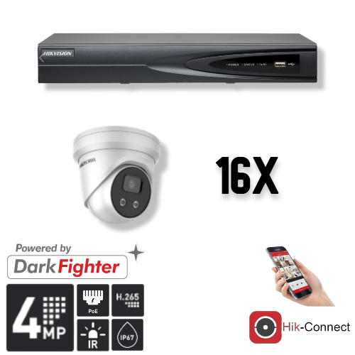 Deze kit bestaat uit:<br /> 1 x 4 Kanaals 4K recorder <br /> 16 x 4 Megapixel slimme Hikvision camera<br /> 1 x Hik-Connect app<br /> 1 x Gratis PC / MAC software<br /> 16 x 20 meter CAT5 kabel<br /> 1 x USB muis <br /> 1x 1 meter HDMI kabel