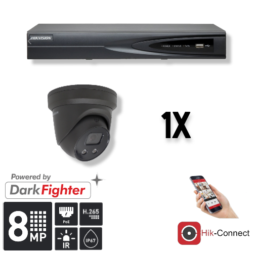 Deze kit bestaat uit:<br /> 1 x 4 Kanaals 4K recorder <br /> 1 x 8 Megapixel slimme Hikvision camera<br /> 1 x Hik-Connect app<br /> 1 x Gratis PC / MAC software<br /> 1 x 20 meter CAT5 kabel<br /> 1 x USB muis <br /> 1x 1 meter HDMI kabel
