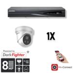 Hikvision Cameraset | 1x Eyeball | 4K | Acusense | NVR | Incl. Bekabeling | POE | APP |