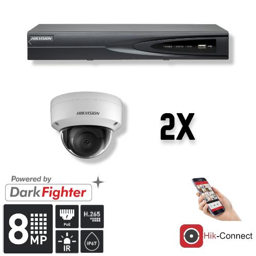 Cameraset | 2x Dome | 4K | Acusense | NVR | Incl. Bekabeling | POE | APP |