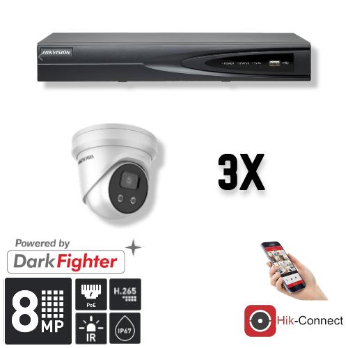 Deze kit bestaat uit:<br /> 1 x 4 Kanaals 4K recorder <br /> 3 x 8 Megapixel slimme Hikvision camera<br /> 1 x Hik-Connect app<br /> 1 x Gratis PC / MAC software<br /> 3 x 20 meter CAT5 kabel<br /> 1 x USB muis <br /> 1 x 1 meter HDMI kabel