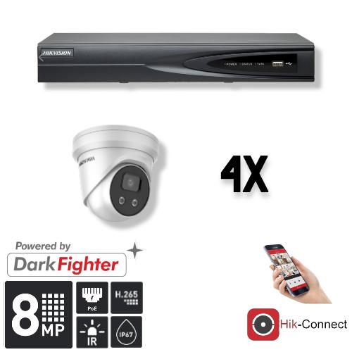 Cameraset | 4x Eyeball | 4K | Acusense | NVR | Incl. Bekabeling | POE | APP |